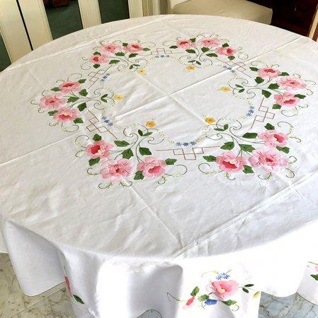 フランスリネン 丸テーブルクロス 花柄 花パッチワーク