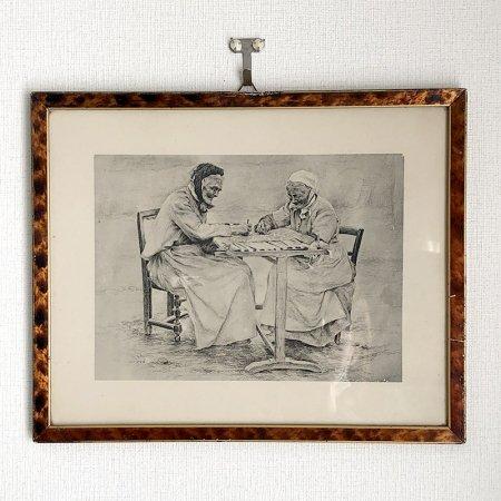 ペン画 木製額入り 愉快な老人達の絵 趣味の時間