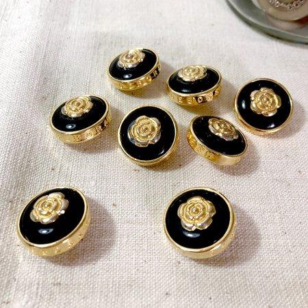 バラのくるみボタン大 ゴールド×ブラック 手芸素材