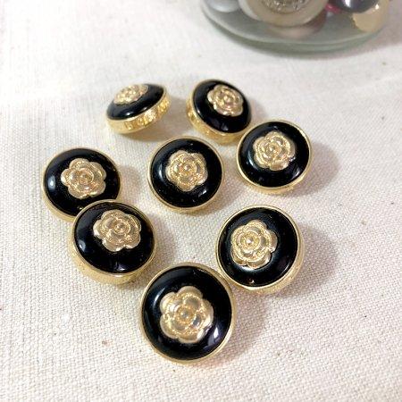 バラのくるみボタン中 ゴールド×ブラック 手芸素材