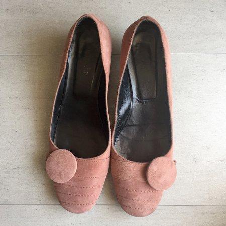 ヴィンテージファッション パンプス 靴 飾りボタン