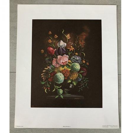 花のアートポスター プリントアート フラワーアレンジ  ヴィンテージ