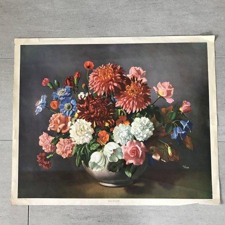 花のアートポスター プリントアート フラワーアレンジ  ヴィンテージ 50年代
