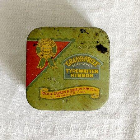 TINミニ缶 タイプライターリボンの四角缶 緑