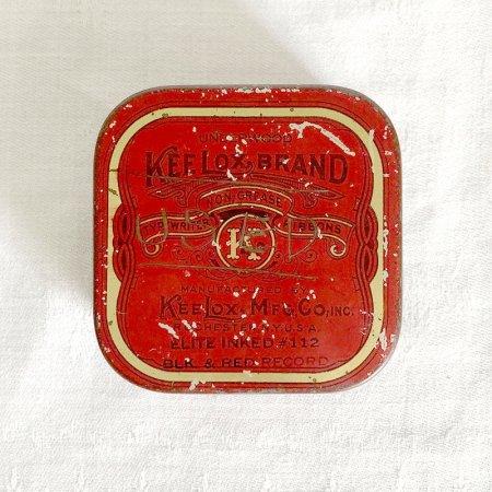 TINミニ缶 タイプライターリボンの四角缶 赤