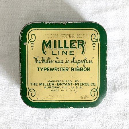TINミニ缶 タイプライターリボンの四角缶 緑MILLER