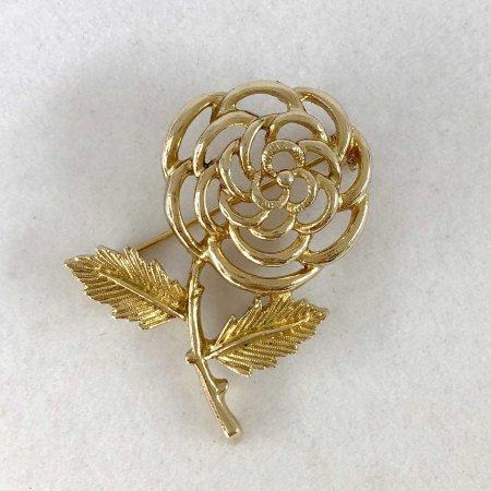 ブローチ ゴールドの薔薇  サラコベントリー