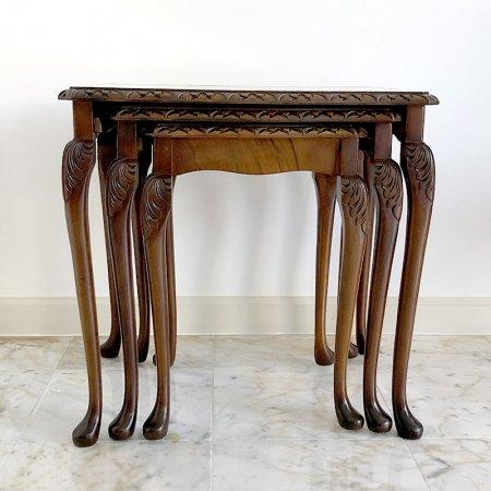 ネストテーブル ウォールナット ガラストップ 英国製