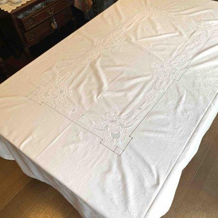 テーブルクロス  大判 白糸刺繍 フランスリネン コットン