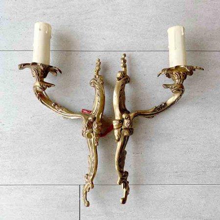 燭台型 アプリック 1対  壁付け電球ランプ 真鍮製 2個セット