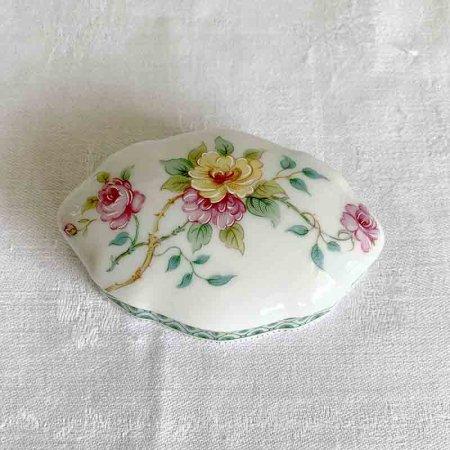 陶器小物入れ  リモージュ ミニサイズ 蓋 手描き花