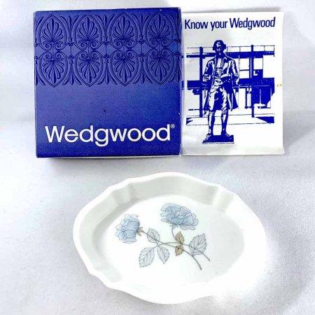 ウェッジウッド  小皿 ミニプレート ice rose 青い薔薇 箱付き リーフレット入り 黒壺