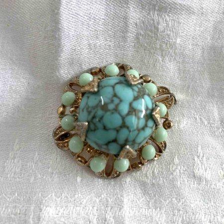 ブローチ  ブルーの石  オリエンタル
