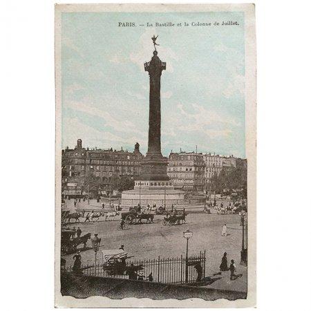 ポストカード -パリの建築物 6- バスティーユ広場、七月革命の記念碑