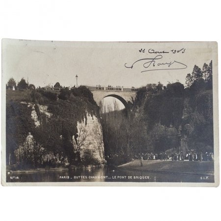 ポストカード -パリの建築物 7- ビュット・ショーモン公園のレンガ橋