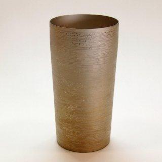 【燕市のお土産】贈り物に最適 純チタン 二重タンブラー涼(大)ブラウン 容量350ml