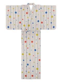 縞に水玉(生成地)/浴衣