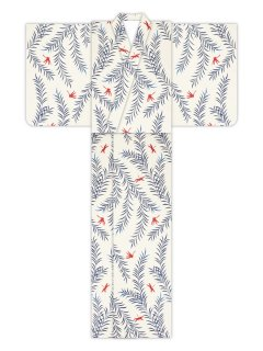 柳にトンボ(生成)/浴衣