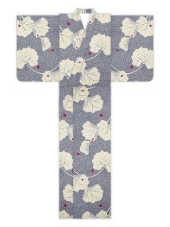 萩に水玉疋田(黒)/浴衣