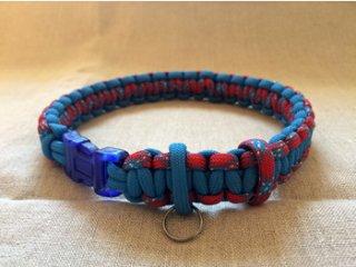 パラコード製首輪「青×赤」