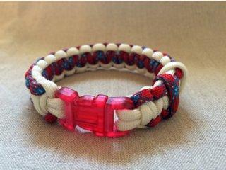 パラコード製首輪「赤×白」