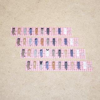 マスキングテープ〈15mm幅〉お絵描き大賞典【みぃデザイン】ループ(チェック・赤)