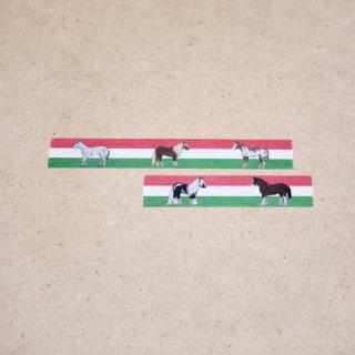 マスキングテープ〈15mm幅〉お絵描き大賞典【ひいデザイン】世界の馬たち(緑)