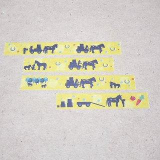 マスキングテープ〈15mm幅〉お絵描き大賞典【はるかデザイン】馬車(きいろ)