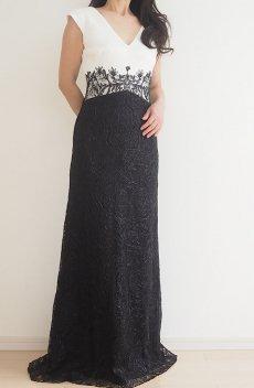 b96b3e87ad00f  SALE Vネック キャップフリーブ バイカラーレースドレス 黒×白