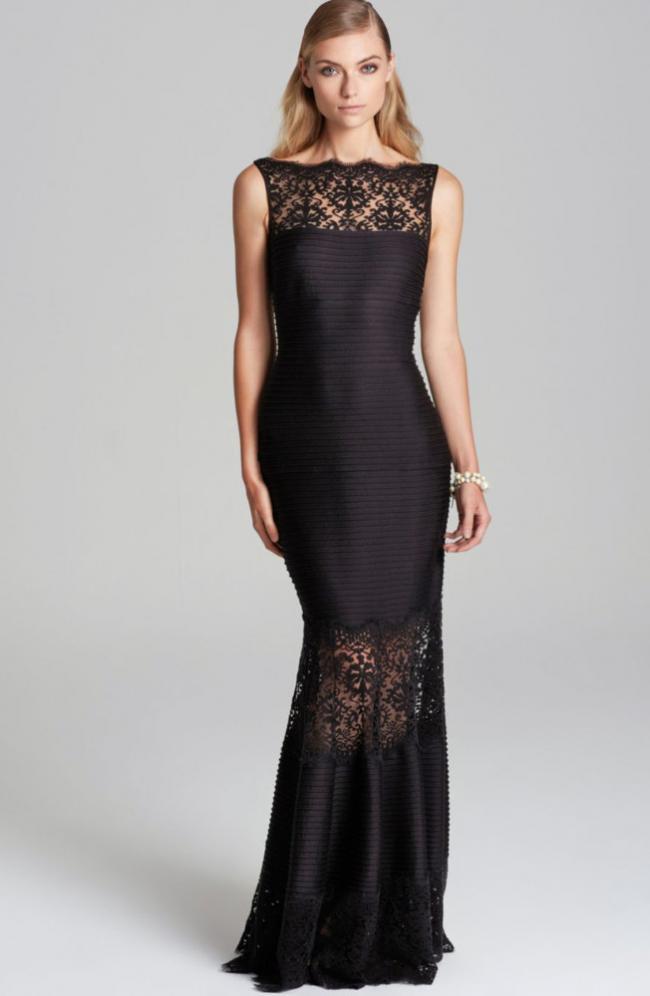 751f1a9670ce3  プチサイズ イルージョンレース ロングドレス 黒 - タダシ・ショージ通販 TADASHI DRESS