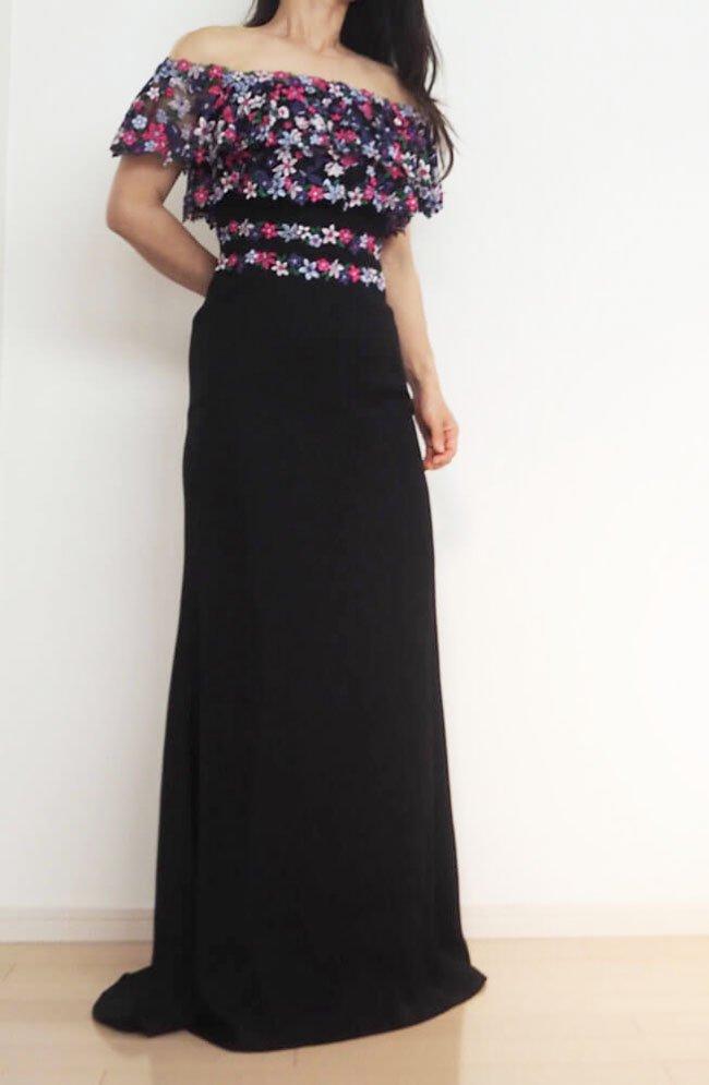 546f4c33202e9 SALE イリュージョンレース オフショルダー フラワー刺繍 ロングドレス ...