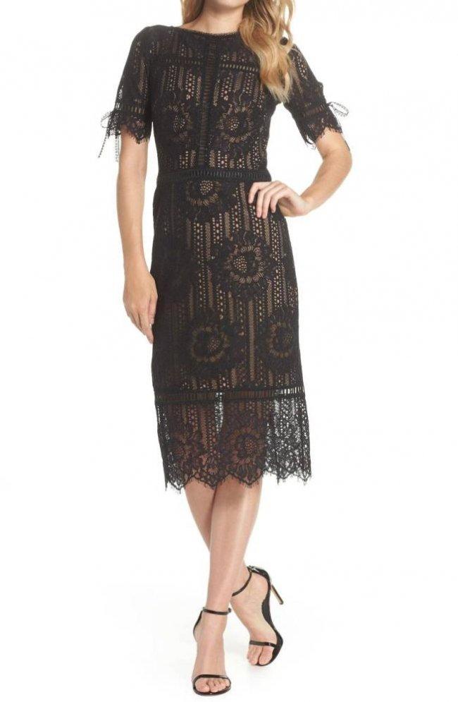 1c224ac26f2ca リボンタイ ハーフ袖 フラワーレースワンピース 黒×ヌード - タダシ・ショージ通販 TADASHI DRESS