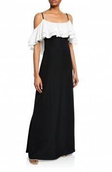 a0d0ffb1f24e9 オフショルダー フリルガウン ツートンロングドレス 白×黒 Black White