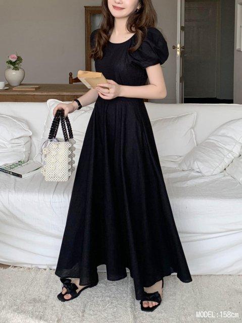 レディパフスリーブドレス