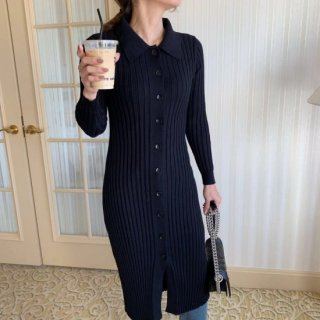 <img class='new_mark_img1' src='https://img.shop-pro.jp/img/new/icons14.gif' style='border:none;display:inline;margin:0px;padding:0px;width:auto;' />COLLAR LONG KNIT DRESS