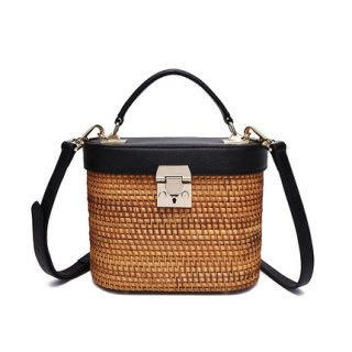RATTAN LEATHER SHOULDER BASKET