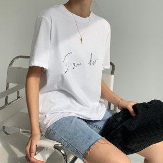 WHITE SIMPLE ロゴ T