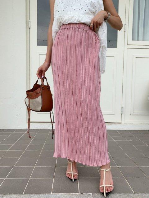 ペンシルラインプリーツスカート Shabby PINK