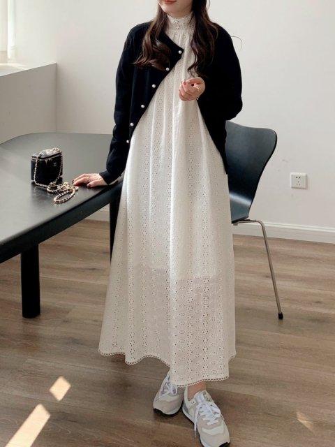 cece stand neck lace dress