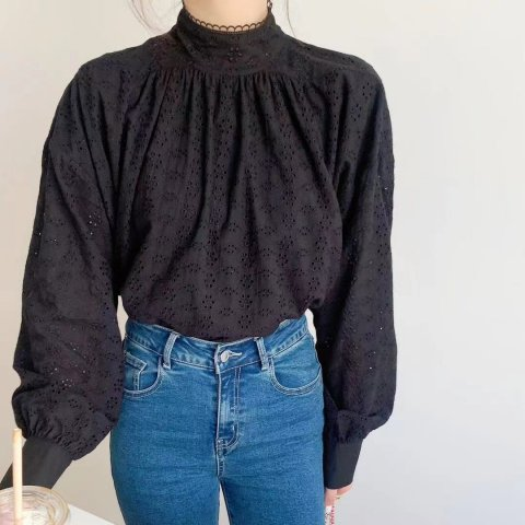 cece stand neck lace tops