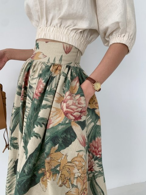 BOTANICAL FLARE SKIRT