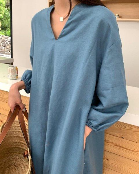 LSキーネック リネン DRESS(HAYAMA limited edition)