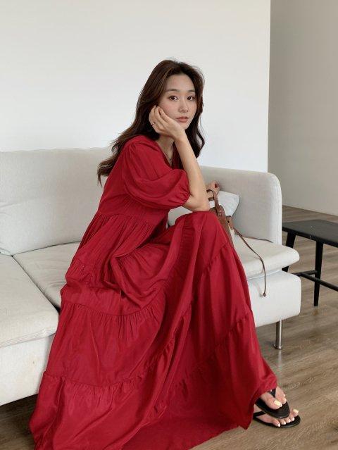 パフスリーブティアードドレス LIMITED RED