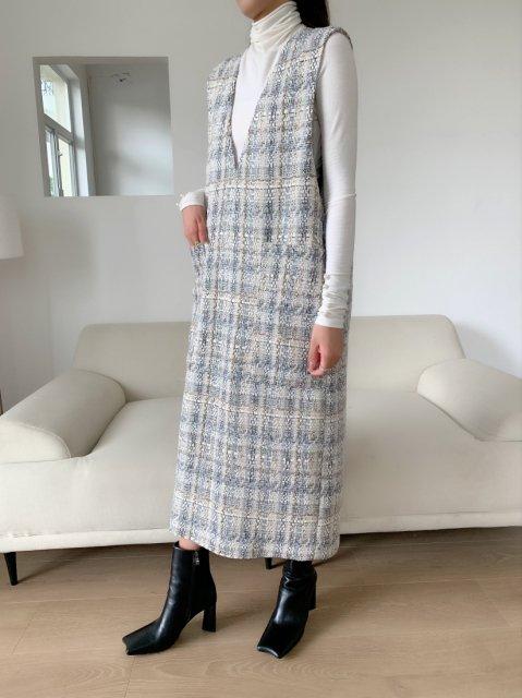 【受注生産】Vネック ツイードジャンパースカート