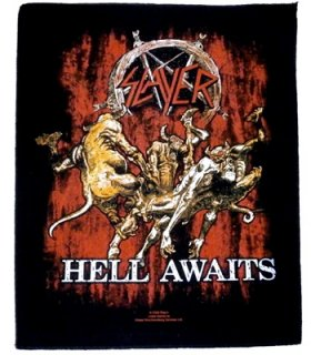 SLAYER「HELL AWAITS」布刺しゅうバックパッチ<img class='new_mark_img2' src='//img.shop-pro.jp/img/new/icons11.gif' style='border:none;display:inline;margin:0px;padding:0px;width:auto;' />