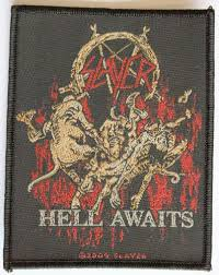 SLAYER「HELL AWAITS」刺繍布パッチ(糊なし)<img class='new_mark_img2' src='//img.shop-pro.jp/img/new/icons52.gif' style='border:none;display:inline;margin:0px;padding:0px;width:auto;' />
