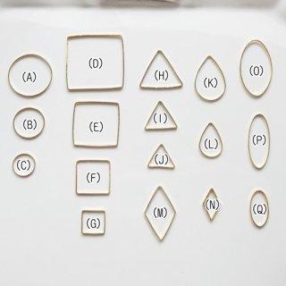 薄いシンプルな空枠・ゴールド(各10個セット)