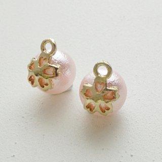 コットンパール風の桜チャーム(2個)