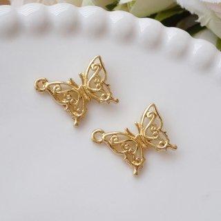 小さな素敵な蝶のチャーム(2個)