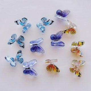 蝶のモチーフデコパーツ(3色各2個合計6個セット)